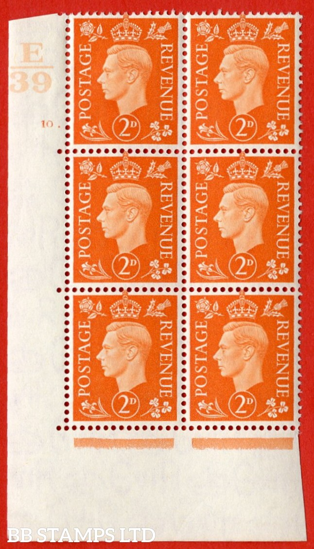 "SG. 465. Q10. 2d Orange. A very fine lightly mounted mint "" Control E39 cylinder 10 dot "" control block of 6 with perf type 5 E/I."