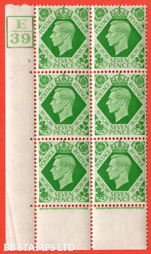 "SG. 471. Q23. 7d Emerald-Green. A very fine lightly mounted mint. "" Control E39 box cylinder 2 no dot "" control block of 6 with perf type 6B E/P."