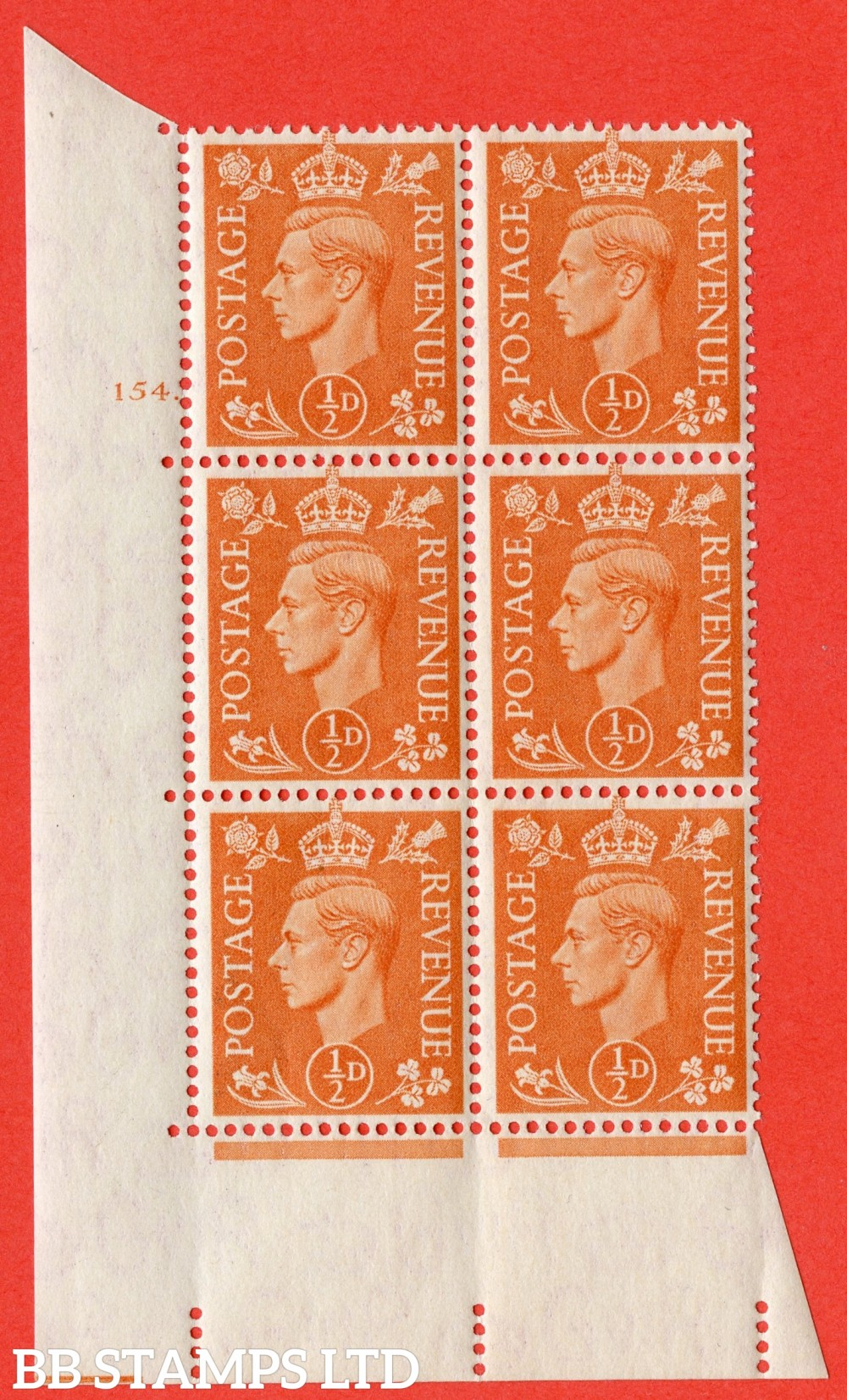 """SG. 503. Q3. ½d Pale Orange. A superb UNMOUNTED MINT """" No Control cylinder 154 dot """" control block of 6 with perf type 5 E/I."""