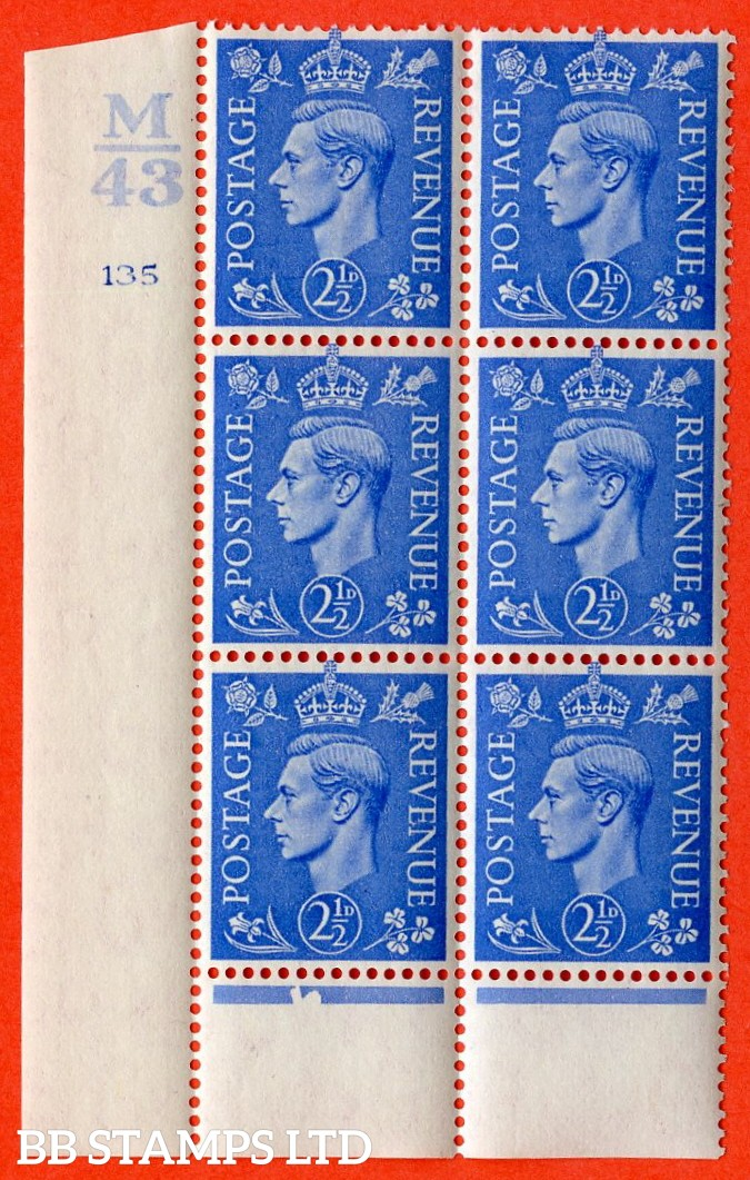 """SG. 489. Q14. 2½d Light ultramarine. A very fine lightly mounted mint """"  Control M43 cylinder 135 no dot """" control block of 6 with perf type 6 I/P."""