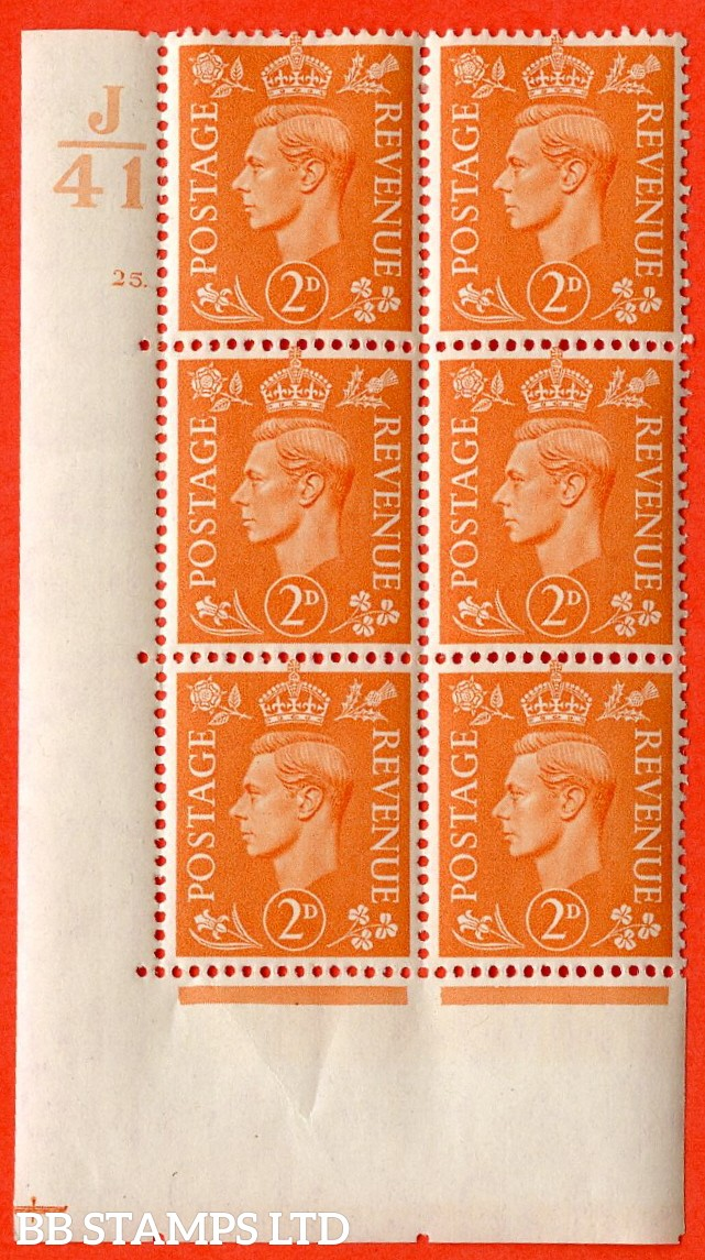"SG. 488. Q11. 2d Pale Orange. A very fine lightly mounted mint. "" Control J41 cylinder 25 dot "" control block of 6 with perf type 5 E/I."