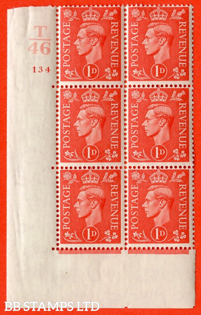 "SG. 486. Q5. 1d Pale scarlet. A superb UNMOUNTED MINT ""  Control T46 cylinder 134 no dot "" control block of 6 with perf type 5 E/I."