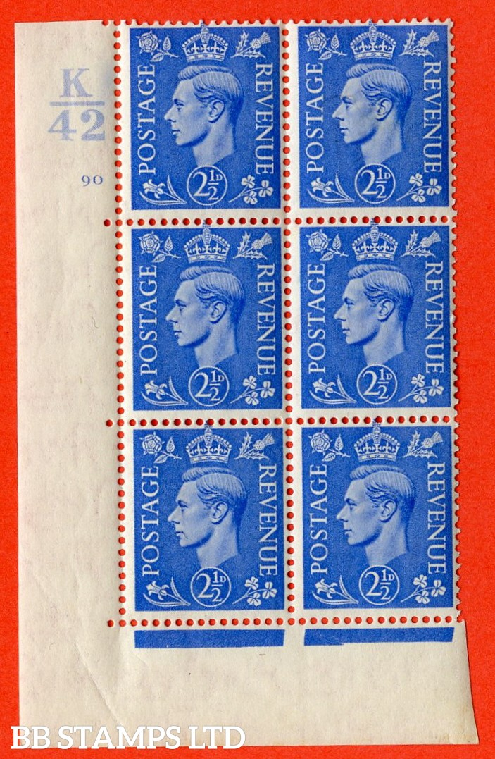 "SG. 489. Q14. 2½d Light ultramarine. A fine lightly mounted mint "" Control K42 cylinder 90 no dot "" control block of 6 with perf type 5 E/I."