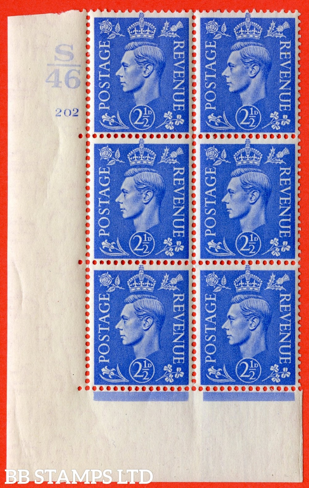 "SG. 489. Q14. 2½d Light ultramarine. A superb UNMOUNTED MINT ""  Control S46 cylinder 202 no dot "" control block of 6 with perf type 5 E/I."
