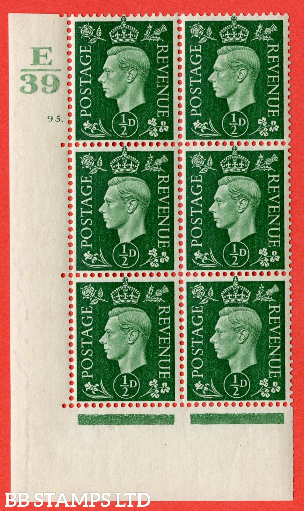 """SG. 462. Q1. ½d Green. A superb UNMOUNTED MINT """" Control E39 cylinder 95 dot """" block of 6 with perf type 5 E/I with marginal rule."""