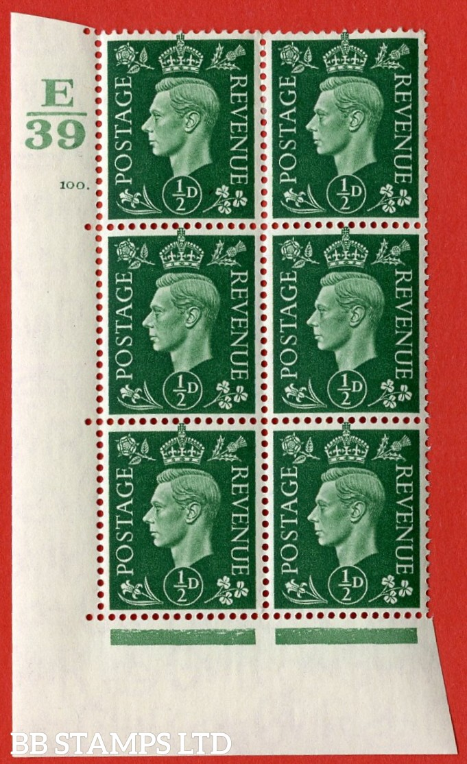 "SG. 462. Q1. ½d Green. A very fine lightly mounted mint "" Control E39 cylinder 100 dot "" block of 6 with perf type 5 E/I with marginal rule."