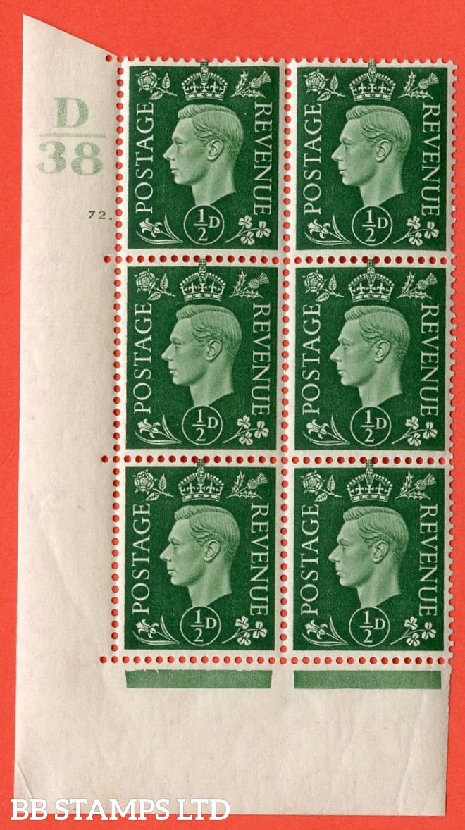 "SG. 462. Q1. ½d Green. A superb UNMOUNTED MINT "" Control D38 cylinder 72 (i) dot "" block of 6 with perf type 5 E/I with marginal rule."
