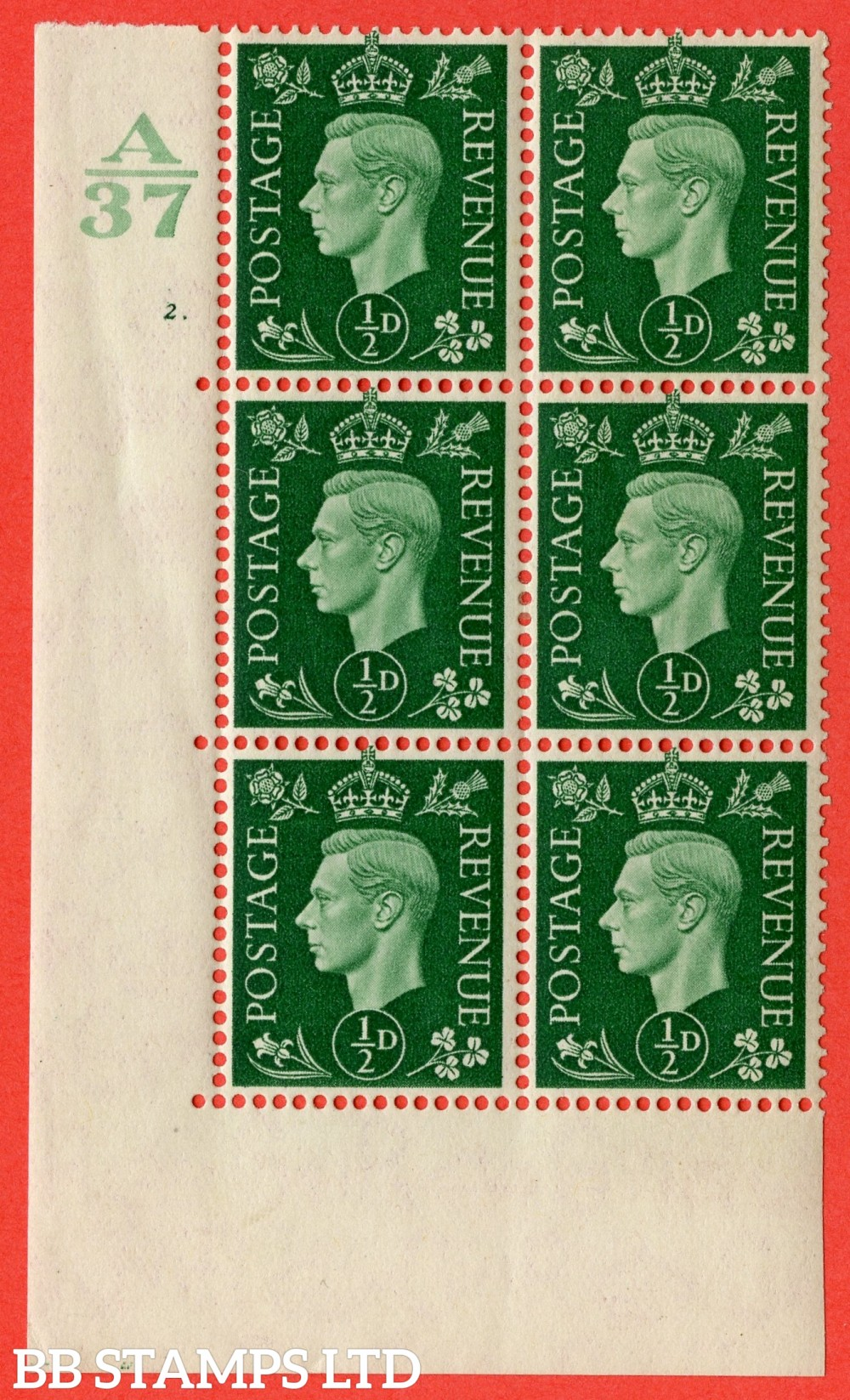 """SG. 462. Q1. ½d Green. A fine lightly mounted mint """" Control A37 cylinder  dot """" block of 6 with perf type 5 E/I with marginal rule."""