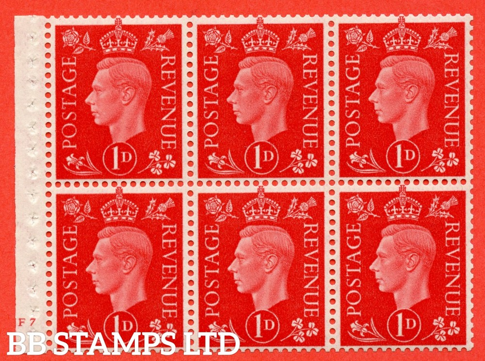 "SG. 463 b. QB10. 1d red. A fine UNMOUNTED MINT cylinder "" F7 no dot "" booklet pane of 6 with excellent perfs. Perf type B3(I)."