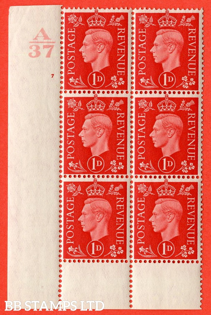 "SG. 463. Q4. 1d Scarlet. A superb UNMOUNTED MINT "" Control A37 cylinder 7 no dot "" block of 6 with perf type 6 I/P without marginal rule."