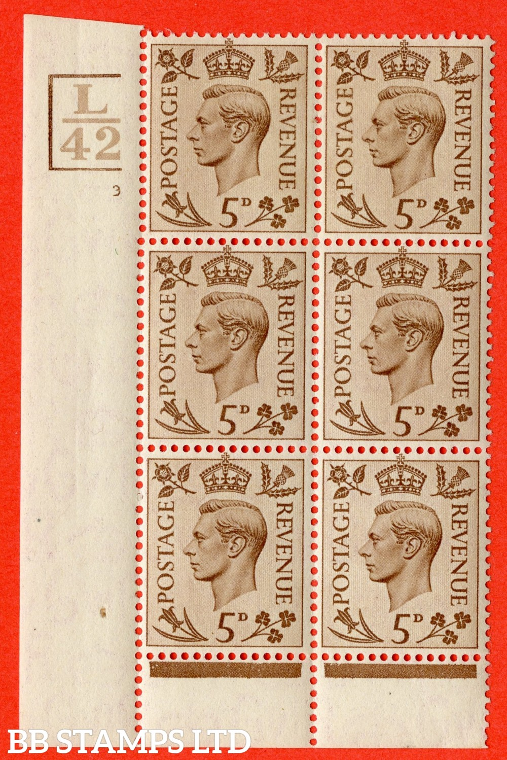 """SG. 469. Q21. 5d Brown. A superb UNMOUNTED MINT.  """" Control L42 Bar bottom left and top cylinder 3 no dot """" control block of 6 with perf type 6 I/P."""