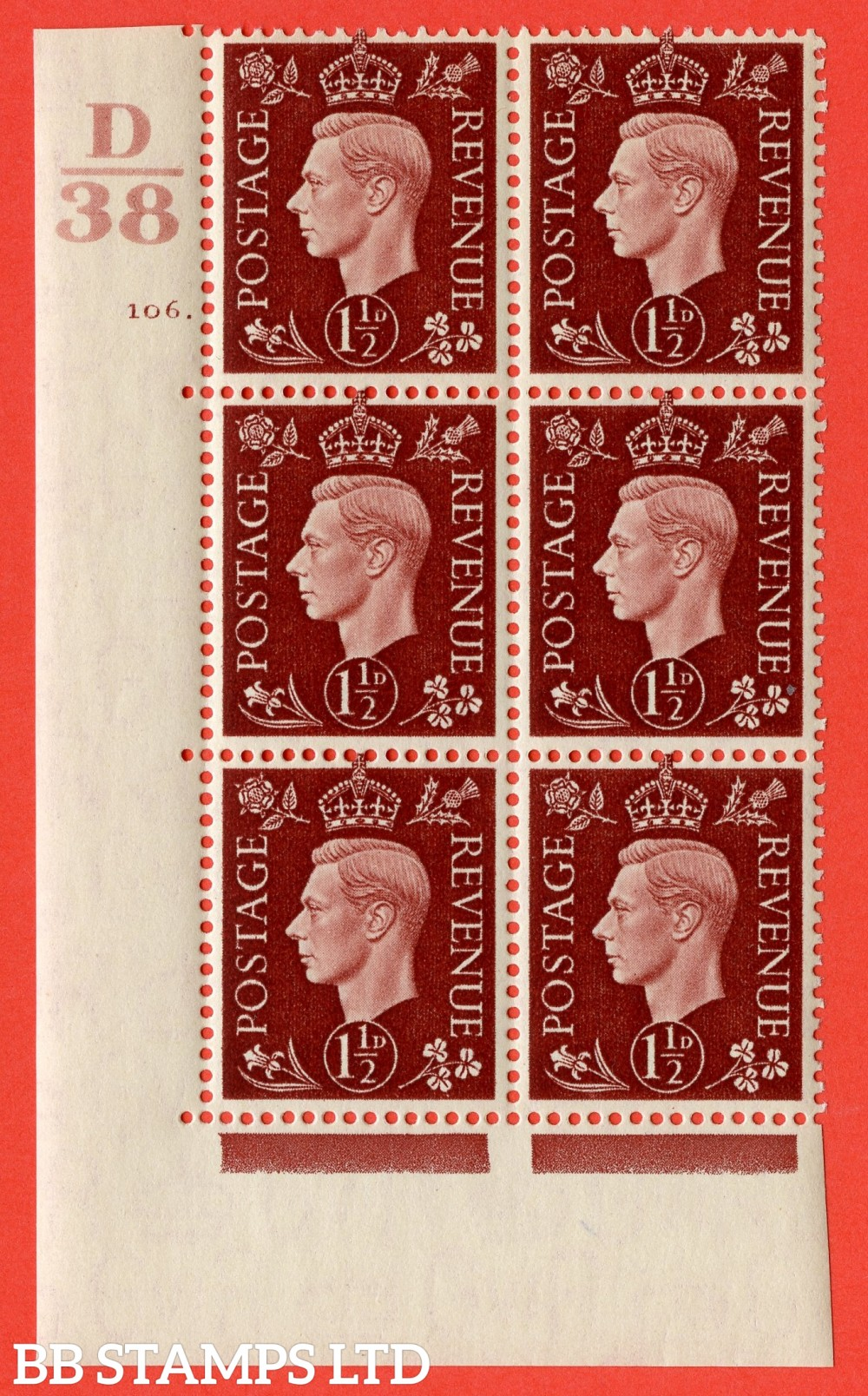 """SG. 464. Q7. 1½d Red-Brown. A superb UNMOUNTED MINT """" Control D38 cylinder 106 dot """" control block of 6 with perf type 5 E/I. with marginal rule."""