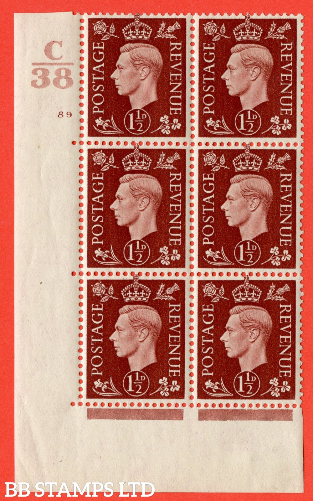 """SG. 464. Q7. 1½d Red-Brown. A fine lightly mounted mint """" Control C38 cylinder 89 no dot """" control block of 6 with perf type 5 E/I. with marginal rule."""