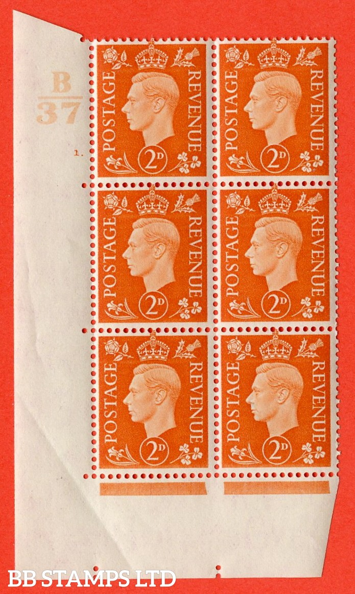 "SG. 465. Q10. 2d Orange. A superb UNMOUNTED MINT "" Control B37 cylinder 1 dot "" control block of 6 with perf type 5 E/I. crease in margin."