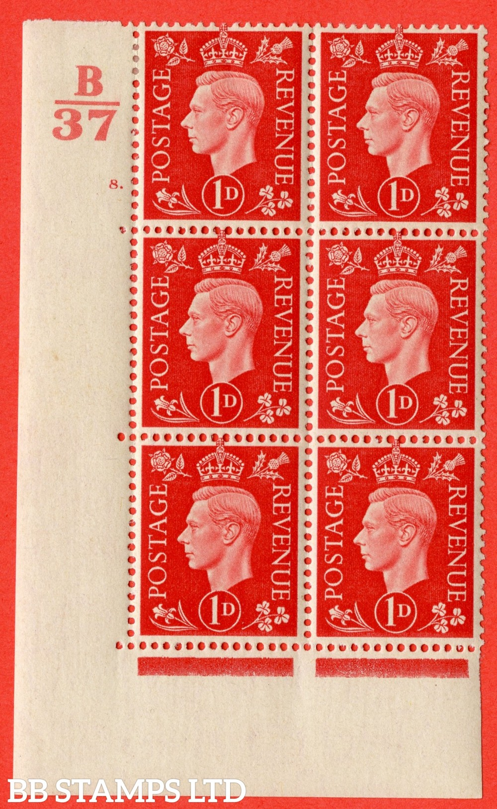 "SG. 463. Q4. 1d Scarlet. A very fine lightly mounted mint "" Control B37 cylinder 8 dot "" block of 6 with perf type 5 E/I with marginal rule."