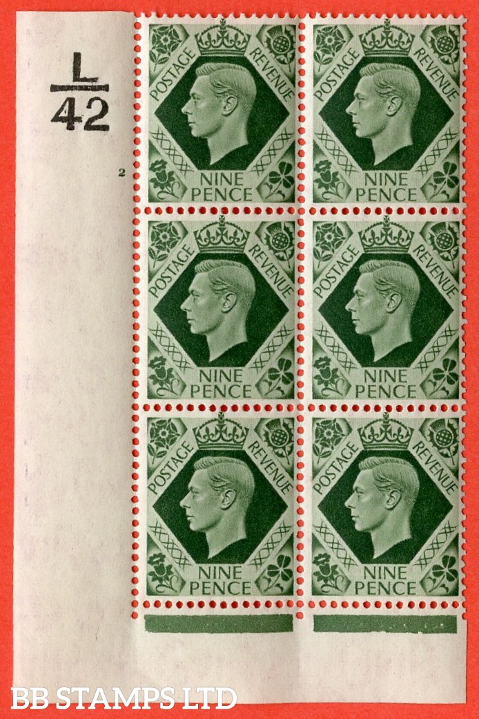 "SG. 473. Q25b. 9d Olive-Green. A superb UNMOUNTED MINT "" Control L42 cylinder 2 no dot "" control block of 6 with perf type 2 I/E."