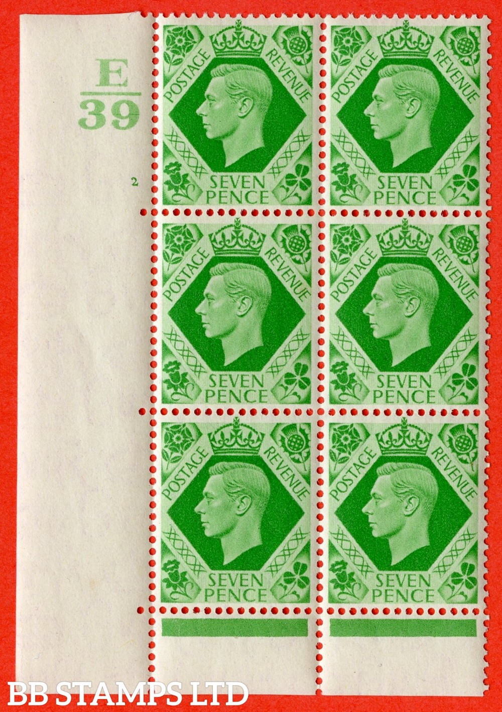 "SG. 471. Q23. 7d Emerald-Green. A very fine lightly mounted mint. "" Control E39 cylinder 2 no dot "" control block of 6 with perf type 6B E/P"