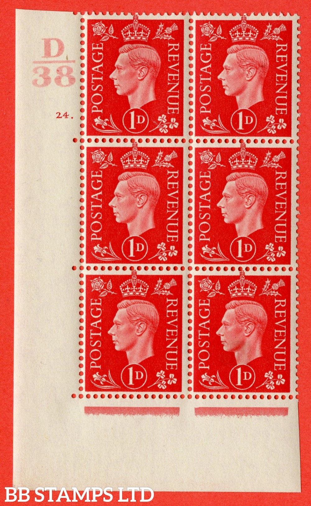 "SG. 463. Q4. 1d Scarlet. A very fine lightly mounted mint "" Control D38 cylinder 24 dot "" block of 6 with perf type 5 E/I with marginal rule."