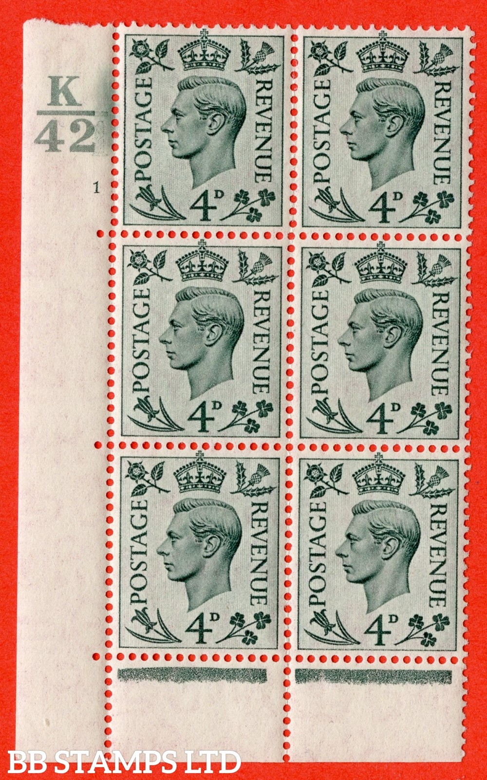 """SG. 468. Q19. 4d Grey-Green. A fine lightly mounted mint. """" Control K42 cylinder 1 no dot """" control block of 6 with perf type 6B E/P."""