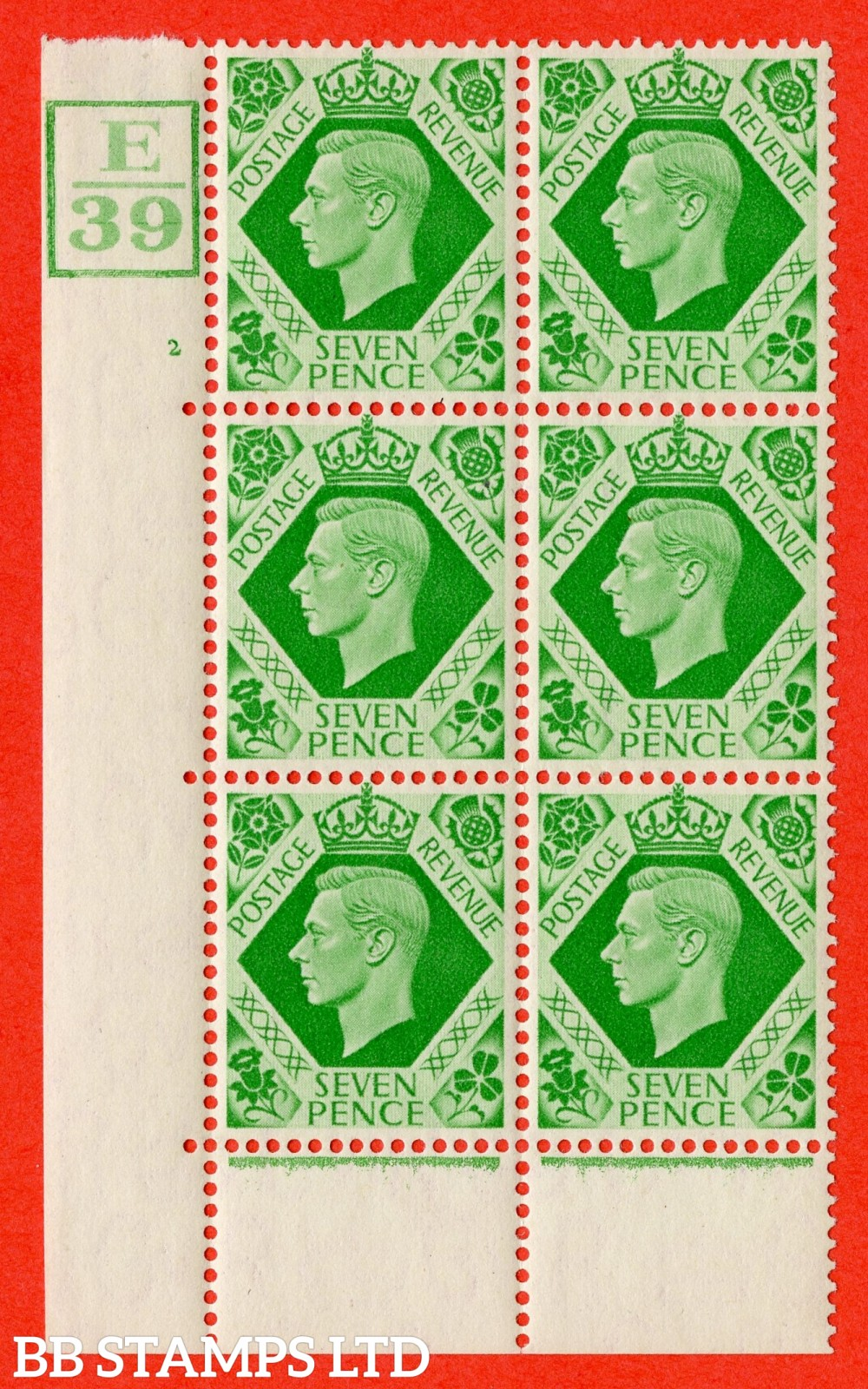 """SG. 471. Q23. 7d Emerald-Green. A fine lightly mounted mint """" Control E39 Box cylinder 2 no dot """" control block of 6 with perf type 6B E/P"""