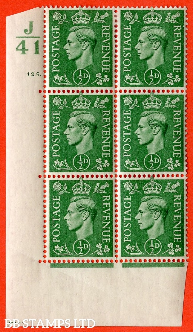"SG. 485. Q2. ½d Pale Green. A very fine lightly mounted mint "" Control J41 cylinder 125 dot "" block of 6 with perf type 5 E/I with marginal rule."
