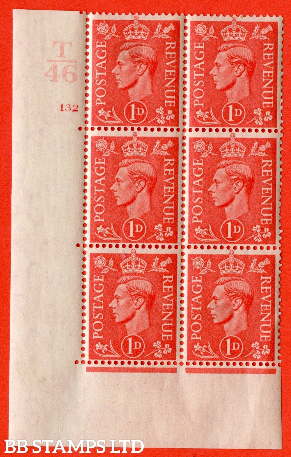"SG. 486. Q5. 1d Pale scarlet. A fine lightly mounted mint "" Control T46 cylinder 132 no dot "" control block of 6 with perf type 5 E/I."