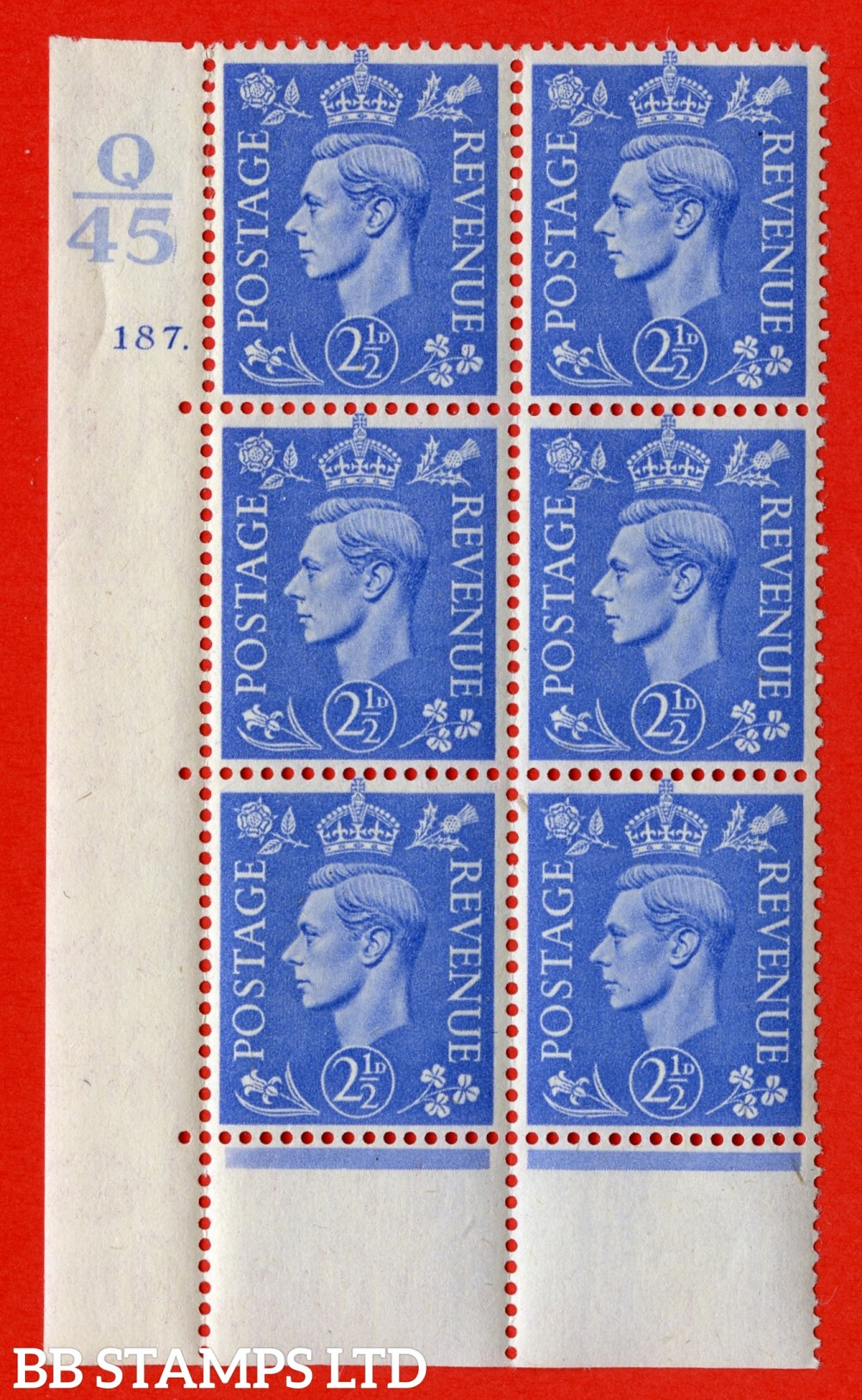 """SG. 489. Q14. 2½d Light ultramarine. A very fine lightly mounted mint """"  Control Q45 cylinder 187 dot """" control block of 6 with perf type 6B E/P."""