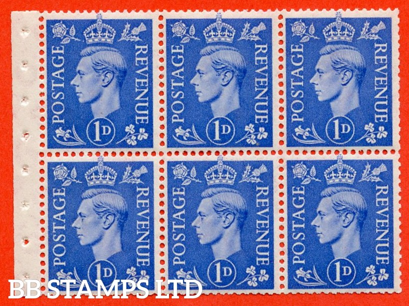 "SG. 504. QB15. 1d ultramarine. Type 1c. A fine UNMOUNTED MINT complete booklet pane of 6 with selvedge. Perf type "" I ""."