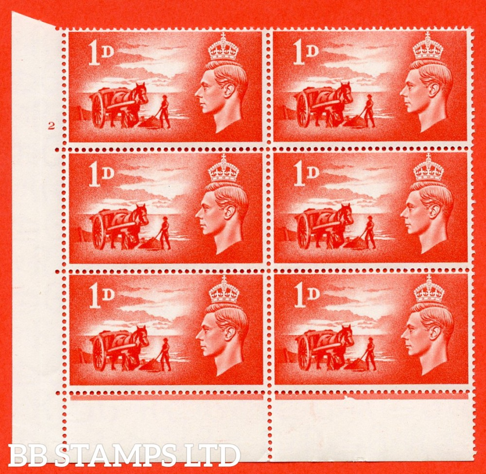 "SG. C1. QCom12 1d Scarlet.  "" UNMOUNTED MINT ""  Cylinder 2 no dot. Cylinder block of 6 perf type 6B E/P."