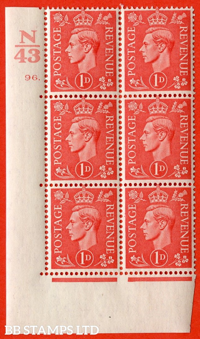 "SG. 486. Q5. 1d Pale scarlet. A very fine lightly mounted mint ""  Control N43 cylinder 96 dot "" control block of 6 with perf type 5 E/I."