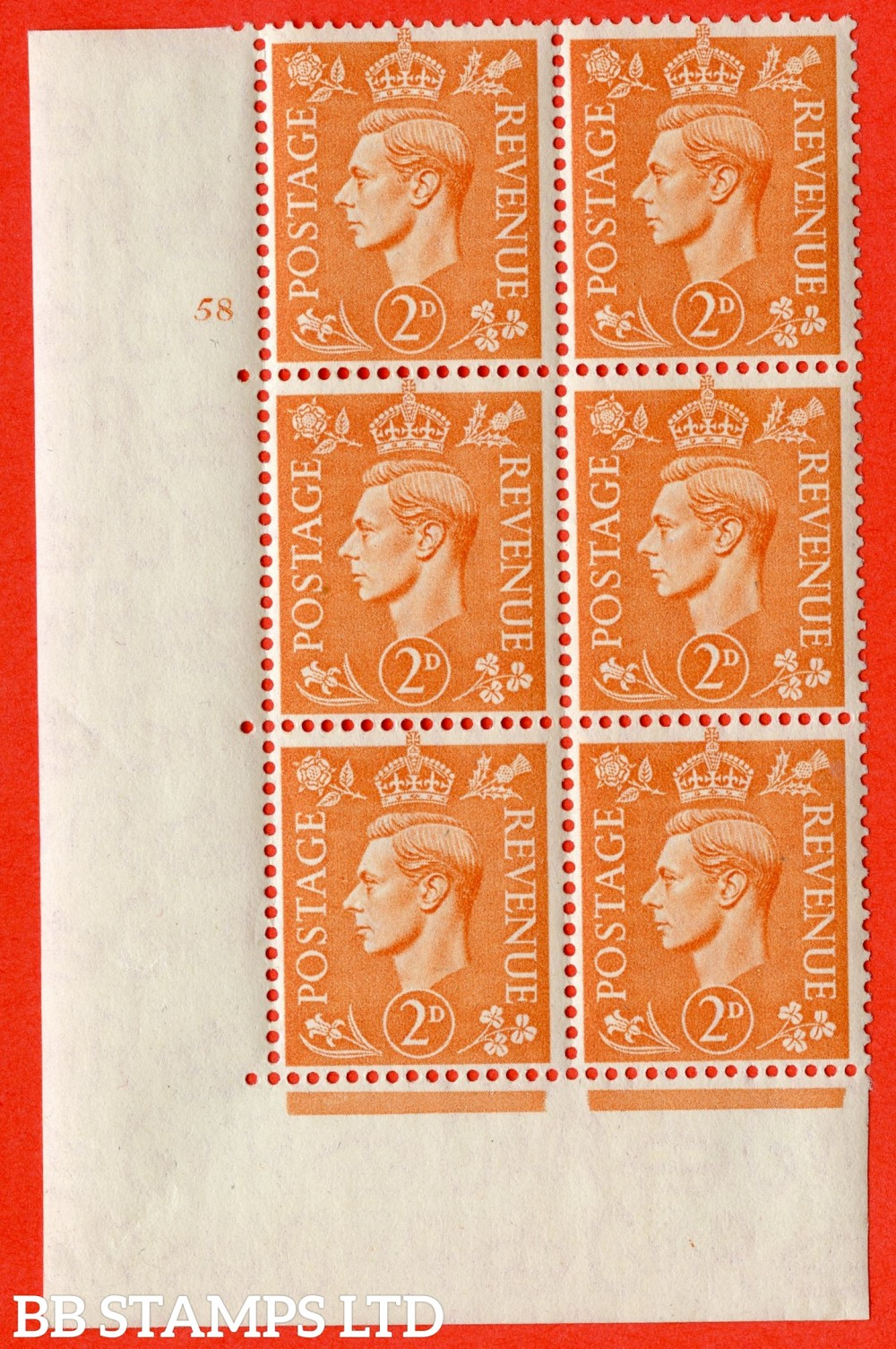 "SG. 488. Q11. 2d Pale Orange. A fine ligthtly mounted mint "" No Control cylinder 58 no dot "" control block of 6 with perf type 5 E/I."