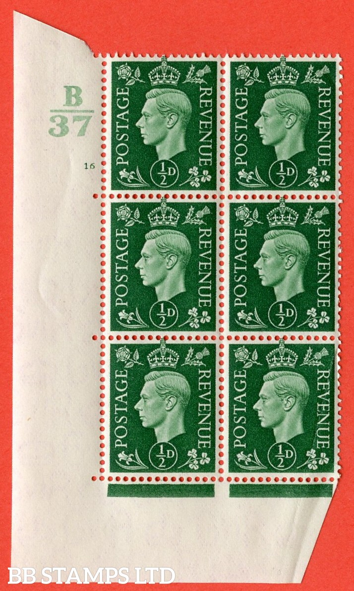 "SG. 462. Q1. ½d Green. A superb UNMOUNTED MINT "" Control C38 cylinder 16 no dot "" block of 6 with perf type 5 E/I with marginal rule. Creased."
