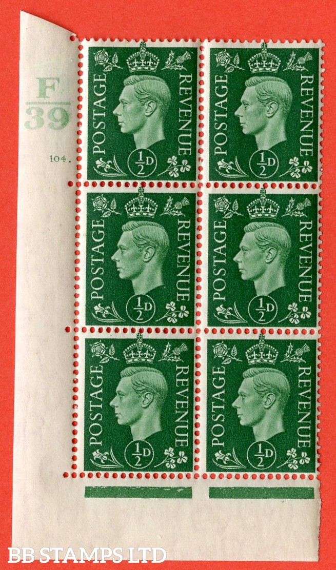 "SG. 462. Q1. ½d Green. A superb UNMOUNTED MINT "" Control F39 cylinder 104 dot "" block of 6 with perf type 5 E/I with marginal rule."