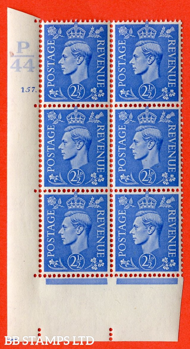 "SG. 489. Q14. 2½d Light ultramarine. A superb UNMOUNTED MINT ""  Control P44 cylinder 157 dot "" control block of 6 with perf type 5 E/I."
