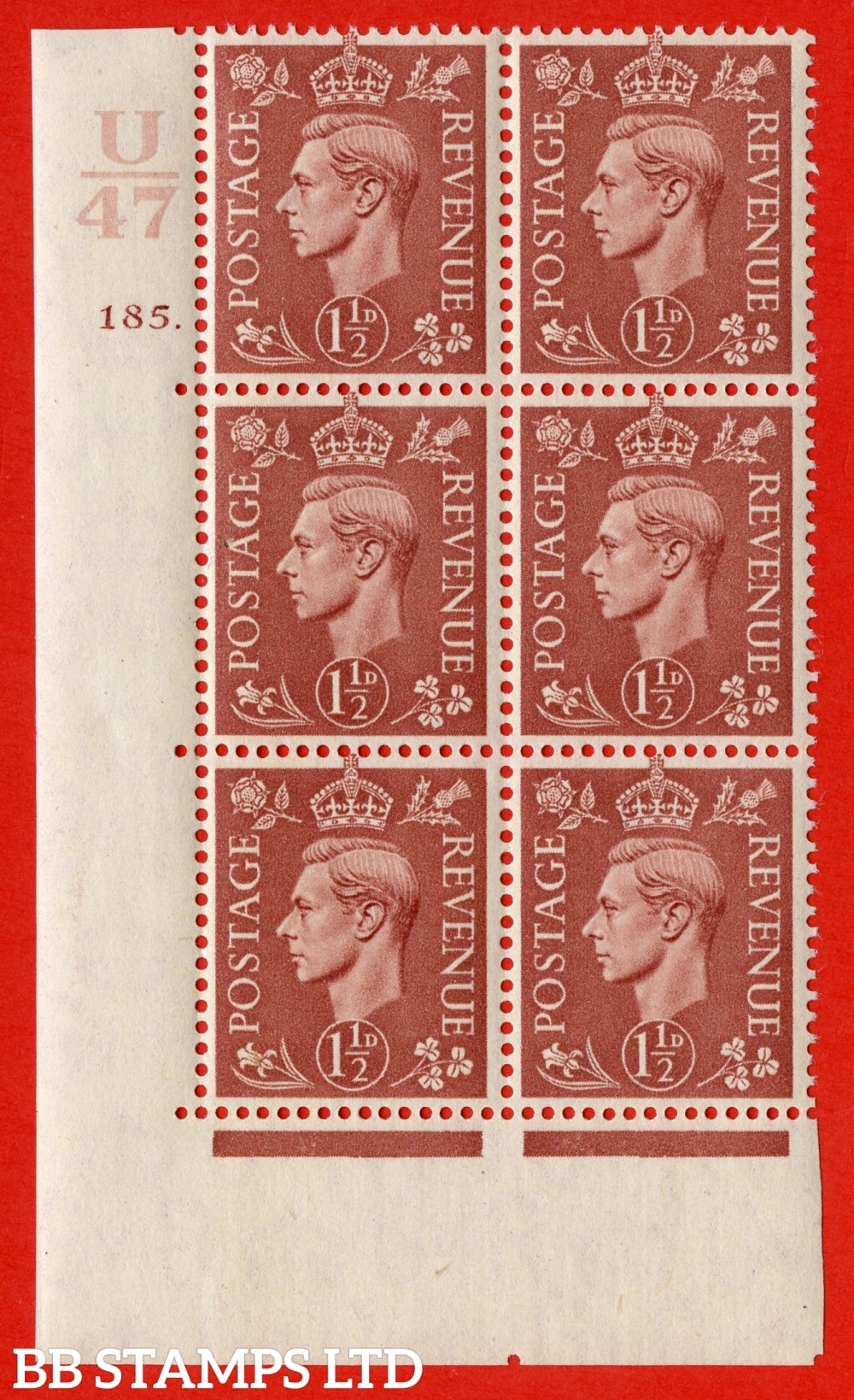 "SG. 487. Q8. 1½d Pale Red-Brown. A superb UNMOUNTED MINT "" Control R45 cylinder 185 dot "" control block of 6 with perf type 5 E/I. with marginal rule"