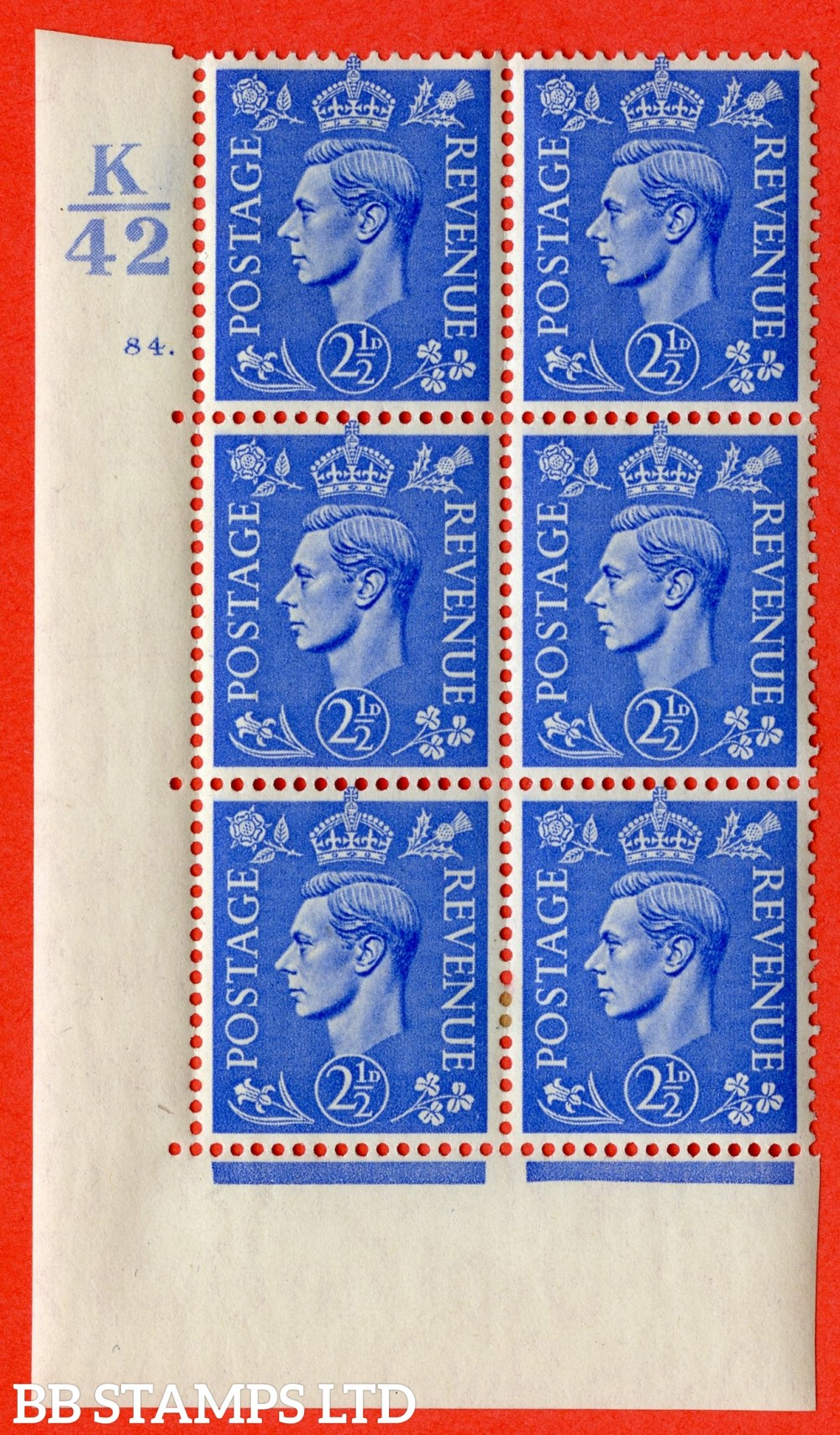 "SG. 489. Q14. 2½d Light ultramarine. A very fine lightly mounted mint ""  Control K42 cylinder 84 dot "" control block of 6 with perf type 5 E/I."