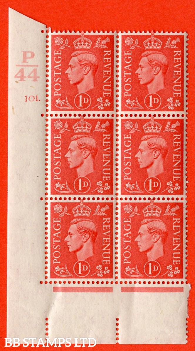 "SG. 486. Q5. 1d Pale scarlet. A superb UNMOUNTED MINT "" Control P44 cylinder 101 dot "" control block of 6 with perf type 5 E/I."