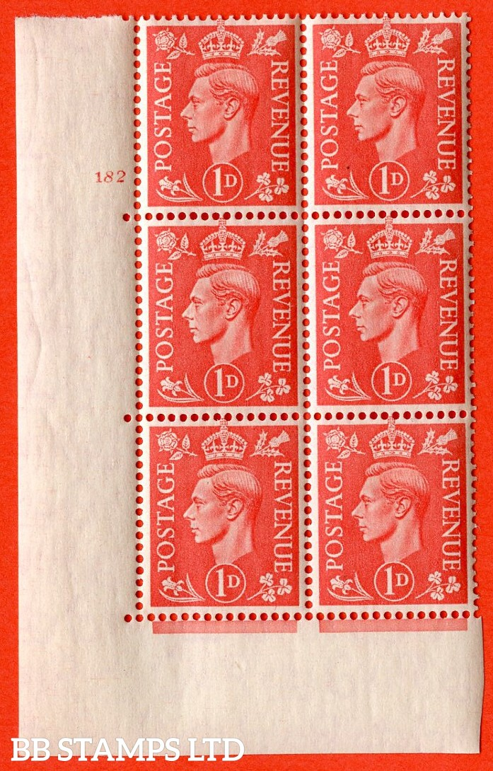 "SG. 486. Q5A. 1d Pale scarlet. A superb UNMOUNTED MINT "" No Control  cylinder 182 no dot "" control block of 6 with perf type 5 E/I."