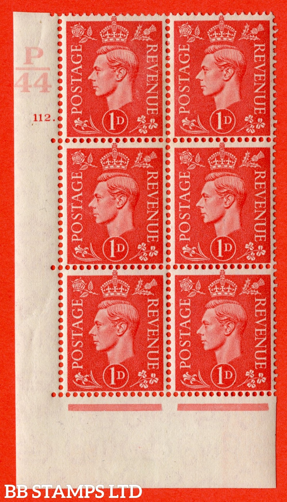 "SG. 486. Q5. 1d Pale scarlet. A fine lightly mounted mint "" Control P44 cylinder 112 dot "" control block of 6 with perf type 5 E/I."