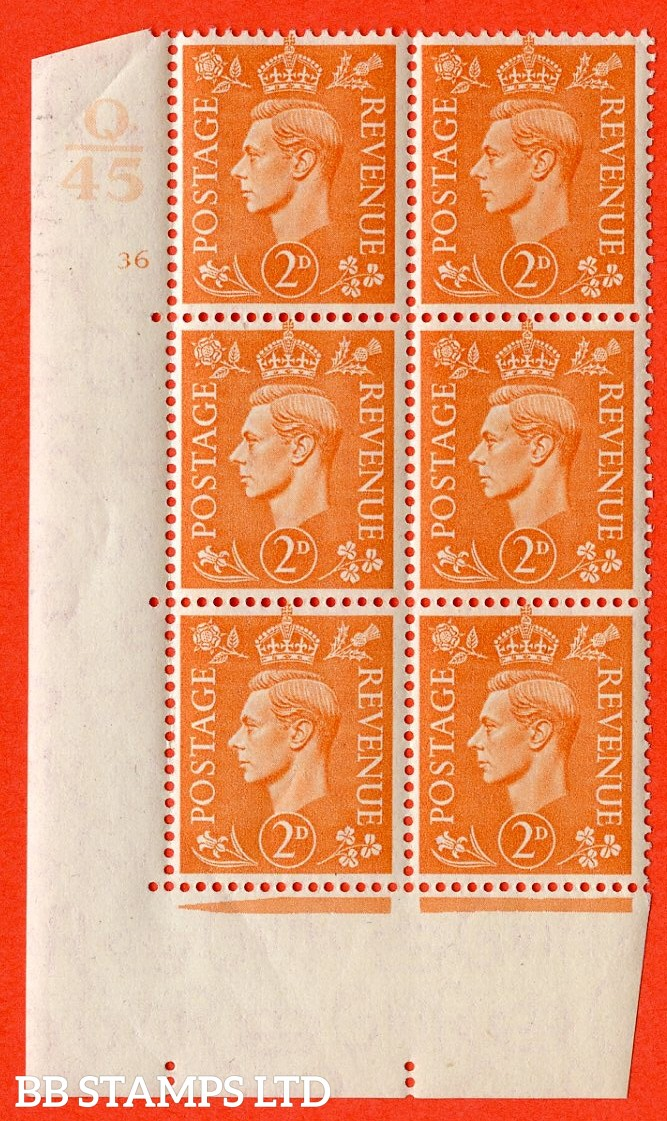 "SG. 488. Q11. 2d Pale Orange. A superb UNMOUNTED MINT. "" Control Q45 cylinder 36 no dot "" control block of 6 with perf type 5 E/I."