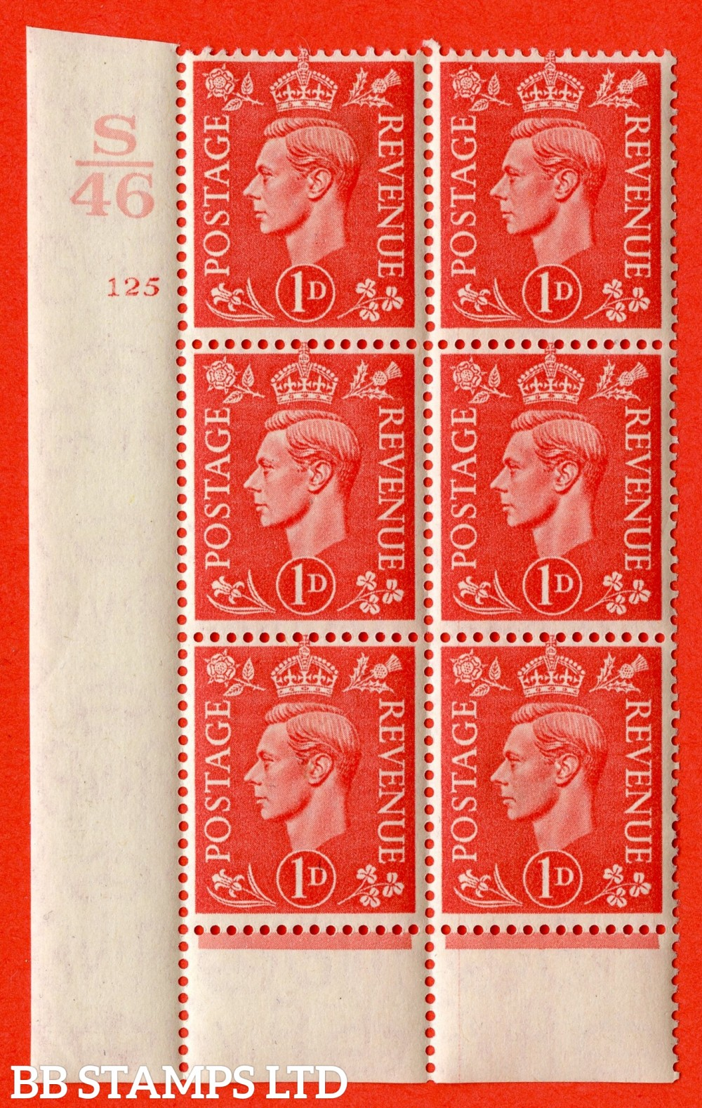 "SG. 486. Q5. 1d Pale scarlet. A fine lightly mounted mint "" Control S46 cylinder 125 no dot "" control block of 6 with perf type 6B I/P."