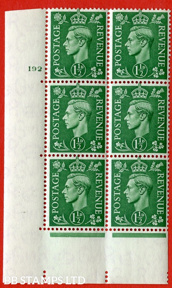 "SG. 505. Q9c. 1½d Pale Green. "" Retouched forehead "" variety.  A superb UNMOUNTED MINT "" No Control cylinder 192 no dot "" control block of 6 with perf type 5 E/I."