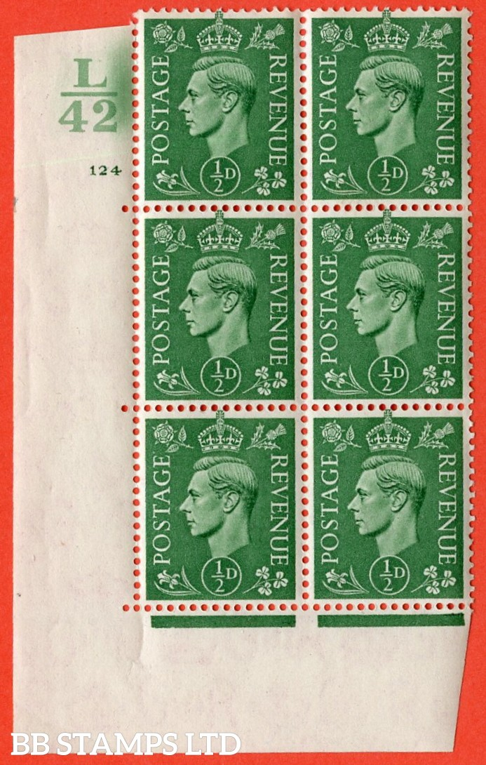 "SG. 485. Q2. ½d Pale Green. A superb UNMOUNTED MINT "" Control L42 cylinder 124 no dot "" control block of 6 with perf type 5 E/I."