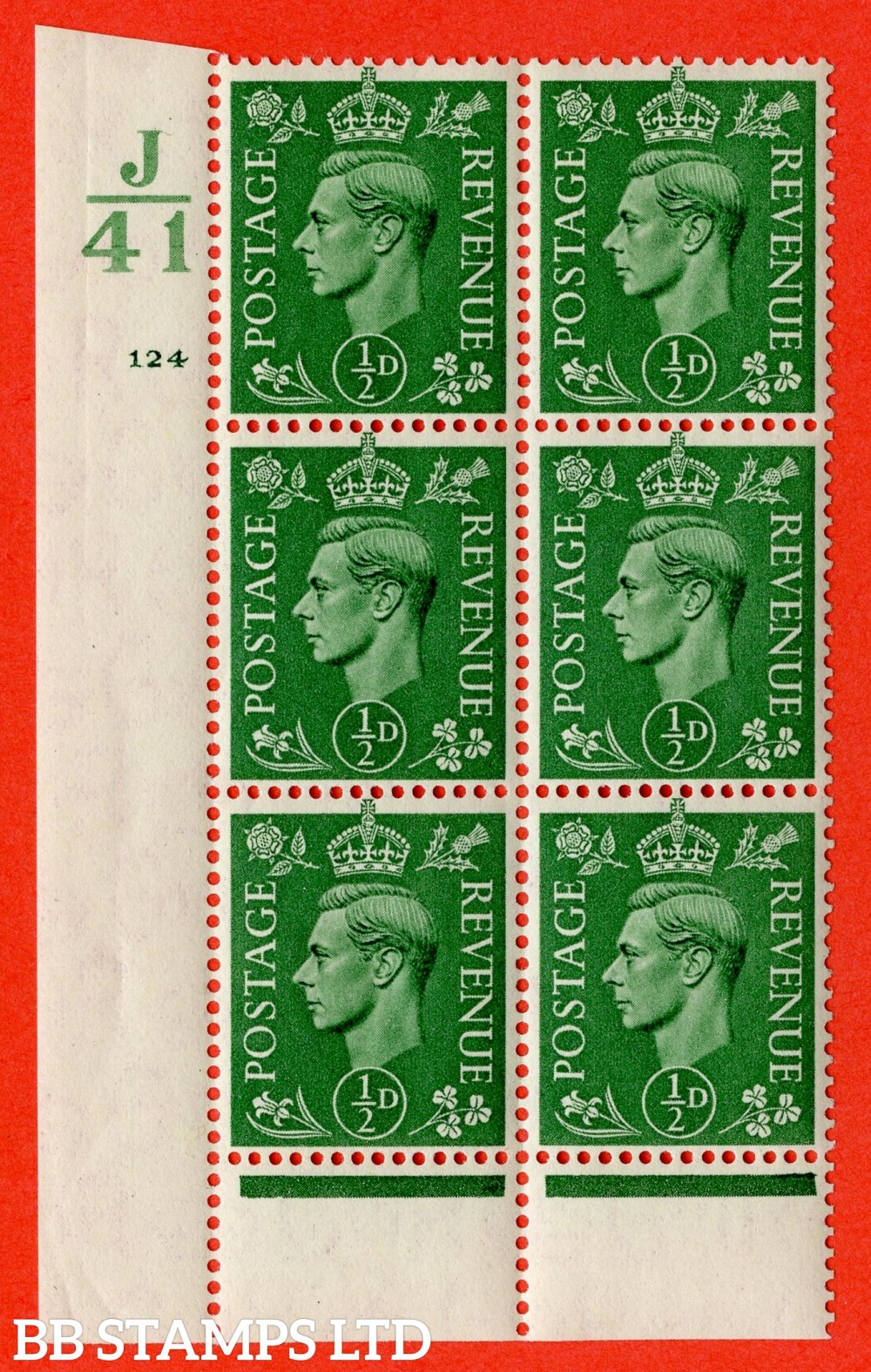 "SG. 485. Q2. ½d Pale Green. A very fine lightly mounted mint "" Control J41 cylinder 124 no dot "" block of 6 with perf type 6 I/P with marginal rule."