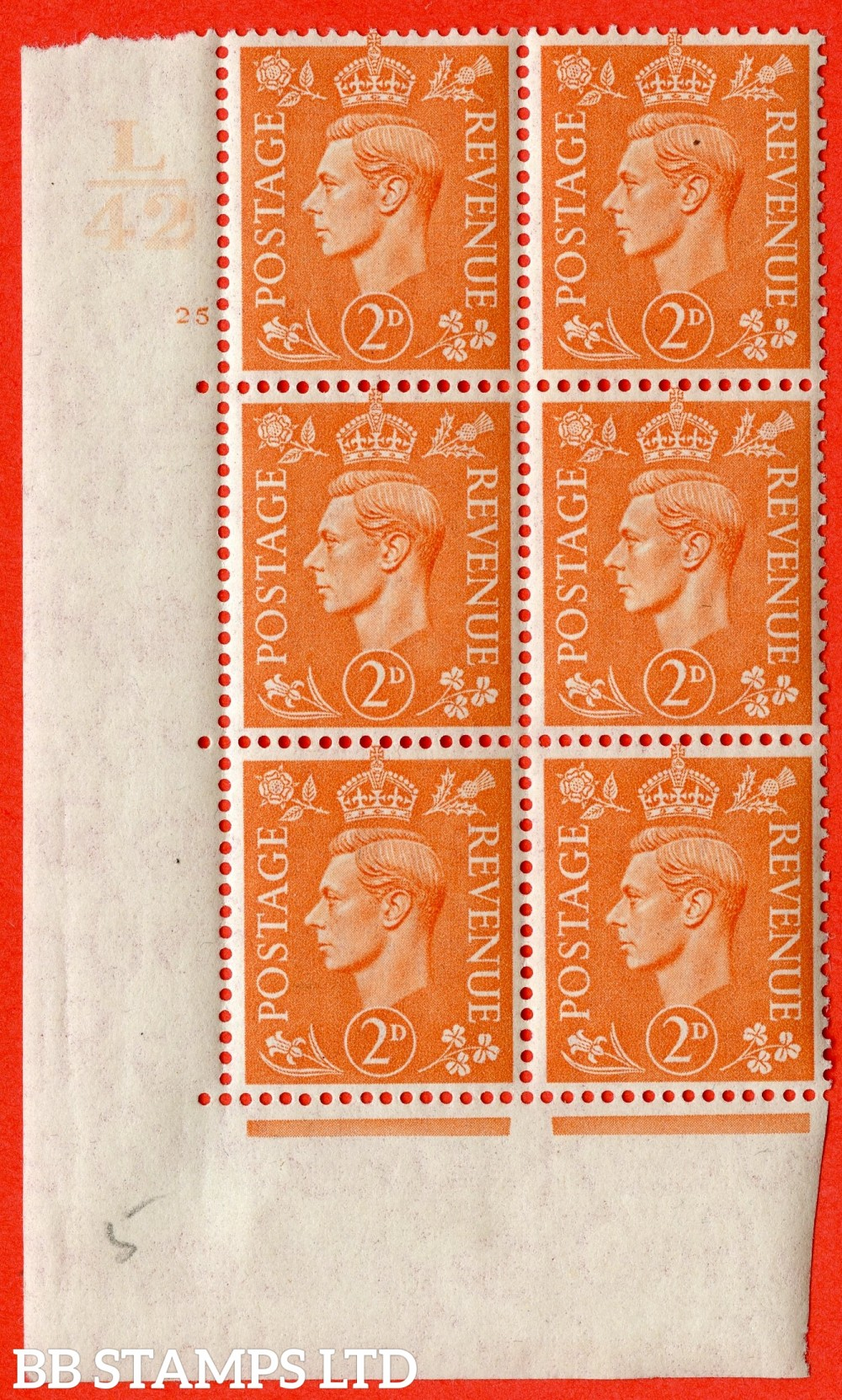 "SG. 488. Q11. 2d Pale Orange. A fine ligthtly mounted mint "" Control L42 cylinder 25 no dot "" control block of 6 with perf type 5 E/I."