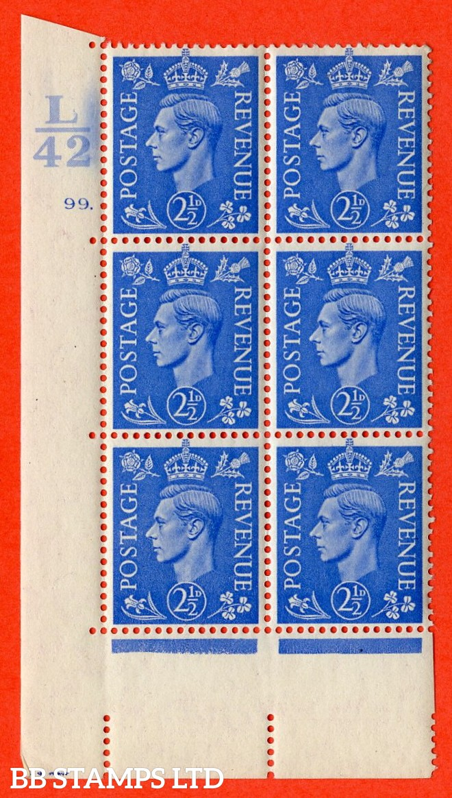 """SG. 489. Q14. 2½d Light ultramarine. A superb UNMOUNTED MINT """"  Control L42 cylinder 99 dot """" control block of 6 with perf type 5 E/I."""
