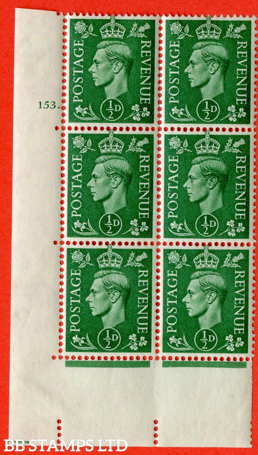"SG. 485. Q2. ½d Pale Green. A very fine lightly mounted mint "" No Control cylinder 153 dot "" block of 6 with perf type 5 E/I with marginal rule."