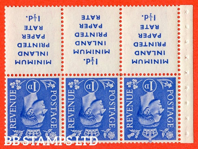 "SG. 504 dwi. QB18a. 1d ultramarine. INVERTED WATERMARK. A fine UNMOUNTED MINT example with "" MINIMUM INLAND PRINTED PAPER RATE "" 17 mm high. Perf type "" I ""."