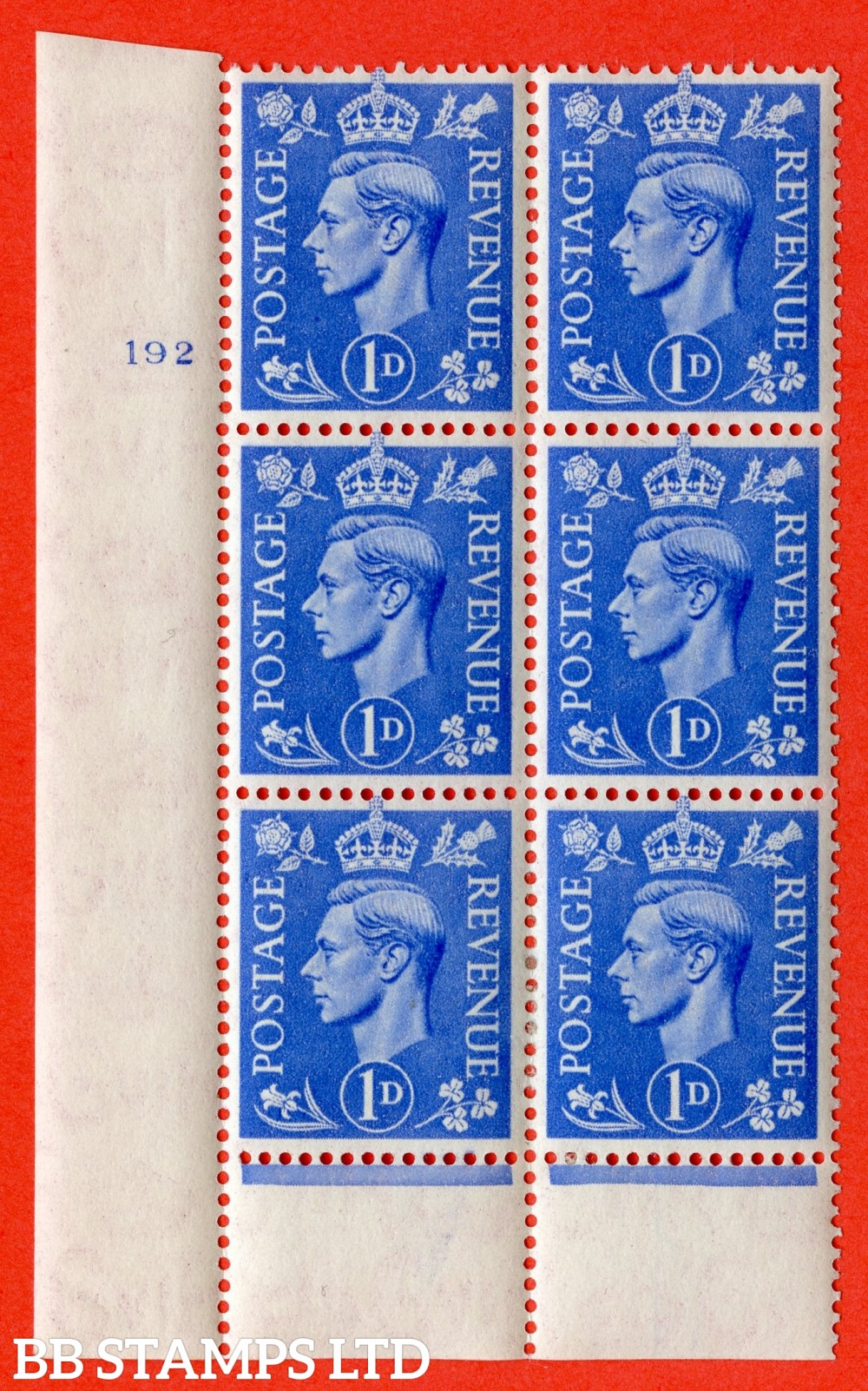 """SG. 504. Q6. 1d Light ultramarine. A superb UNMOUNTED MINT """" No Control cylinder 192 no dot """" control block of 6 with perf type 6 I/P."""