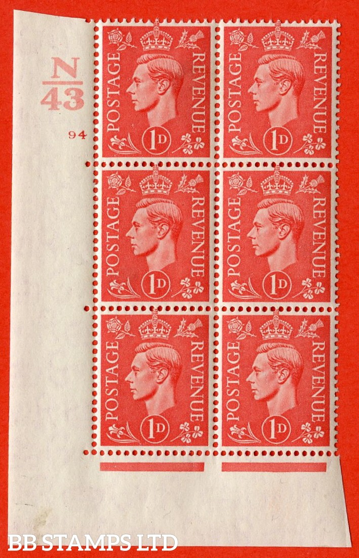 "SG. 486. Q5. 1d Pale scarlet. A very fine lightly mounted mint ""  Control N43 cylinder 94 no dot "" control block of 6 with perf type 5 E/I."